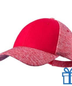 Baseball pet polyester 6 panelen klittenband rood bedrukken