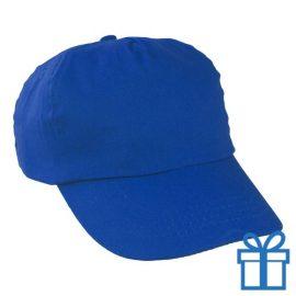 Baseballcap katoen 5 panelen kleur blauw bedrukken
