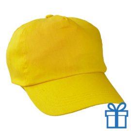 Baseballcap katoen 5 panelen kleur geel bedrukken