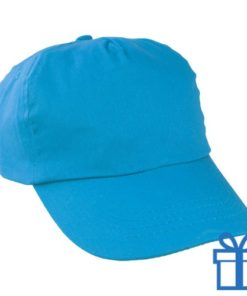 Baseballcap katoen 5 panelen kleur lichtblauw bedrukken