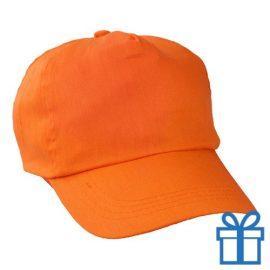 Baseballcap katoen 5 panelen kleur oranje bedrukken
