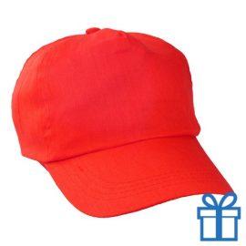 Baseballcap katoen 5 panelen kleur rood bedrukken