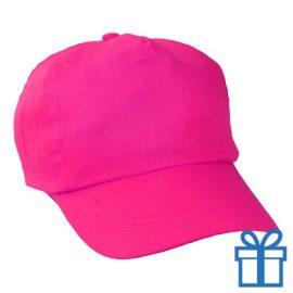 Baseballcap katoen 5 panelen kleur roze bedrukken