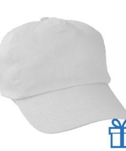 Baseballcap katoen 5 panelen kleur wit bedrukken
