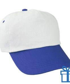 Baseballcap katoen 5 panelen kleur wit blauw bedrukken