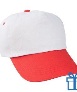 Baseballcap katoen 5 panelen kleur wit rood bedrukken