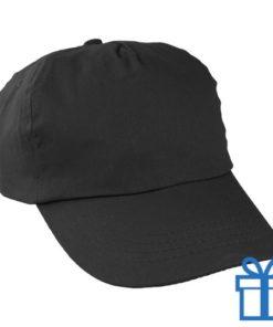 Baseballcap katoen 5 panelen kleur zwart bedrukken