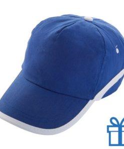 Baseballcap katoen 5 panelen klittenband blauw bedrukken