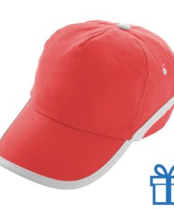 Baseballcap katoen 5 panelen klittenband rood bedrukken