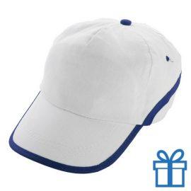 Baseballcap katoen 5 panelen klittenband wit navy bedrukken