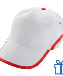 Baseballcap katoen 5 panelen klittenband wit rood bedrukken