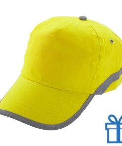 Baseballcap katoen reflector geel bedrukken