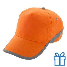 Baseballcap katoen reflector oranje bedrukken