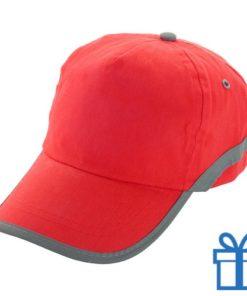 Baseballcap katoen reflector rood bedrukken