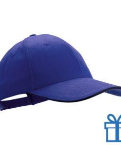 Cap geborsteld blauw bedrukken