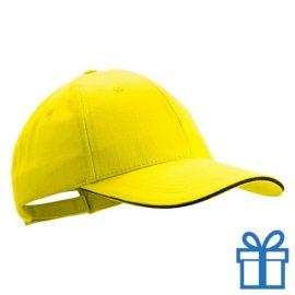 Cap geborsteld geel bedrukken