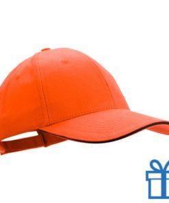 Cap geborsteld oranje bedrukken