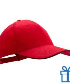 Cap geborsteld rood bedrukken