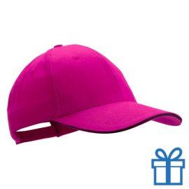 Cap geborsteld roze bedrukken
