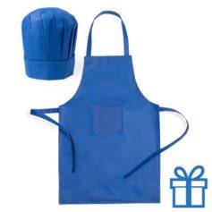 Chef keukenset kids blauw bedrukken