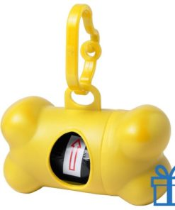 Dispenser hond voor poepzakjes geel bedrukken