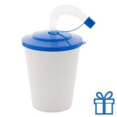 Drinkbeker rietje blauw bedrukken