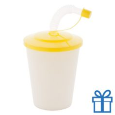 Drinkbeker rietje geel bedrukken