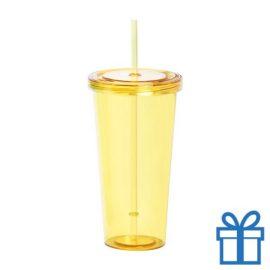 Drinkbeker transparant geel bedrukken