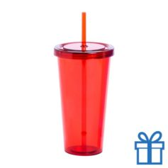 Drinkbeker transparant rood bedrukken