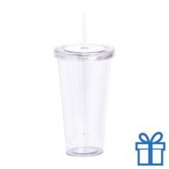 Drinkbeker transparant wit bedrukken