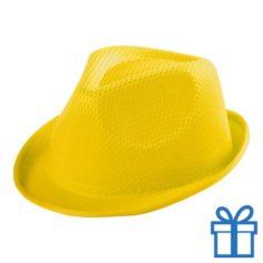 Fashion hoedje kids geel bedrukken