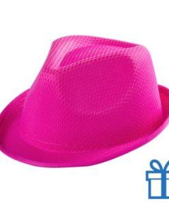 Fashion hoedje kids roze bedrukken