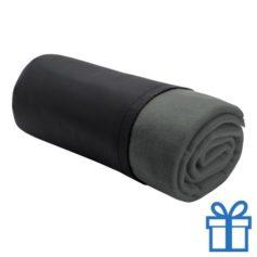 Fleece deken luxe grijs bedrukken