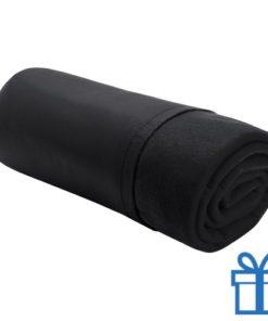 Fleece deken luxe zwart bedrukken