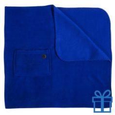 Fleece deken mobiel zakje blauw bedrukken