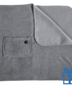 Fleece deken mobiel zakje grijs bedrukken