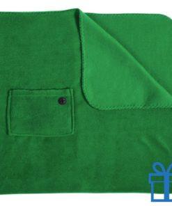 Fleece deken mobiel zakje groen bedrukken