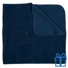 Fleece deken mobiel zakje navy bedrukken