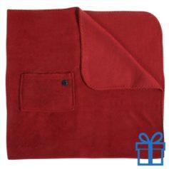Fleece deken mobiel zakje rood bedrukken