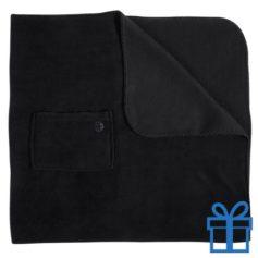 Fleece deken mobiel zakje zwart bedrukken