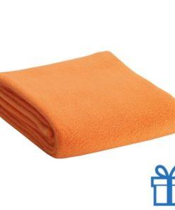 Fleece deken oranje bedrukken