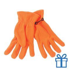 Fleece handschoenen heren oranje bedrukken