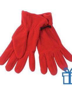 Fleece handschoenen heren rood bedrukken