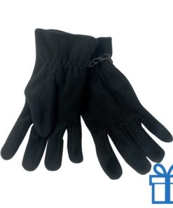Fleece handschoenen heren zwart bedrukken