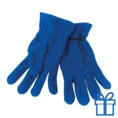 Fleece handschoenen vrouwen blauw bedrukken