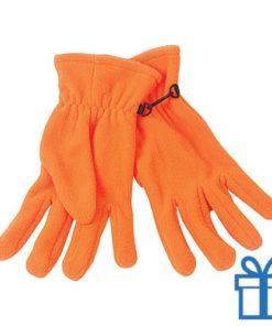 Fleece handschoenen vrouwen oranje bedrukken