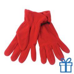 Fleece handschoenen vrouwen rood bedrukken