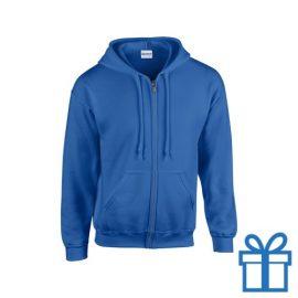 Fleece sweater capuchon L blauw bedrukken