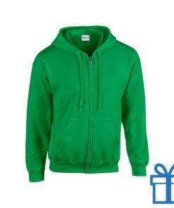 Fleece sweater capuchon L donkergroen bedrukken