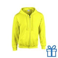 Fleece sweater capuchon L geel bedrukken
